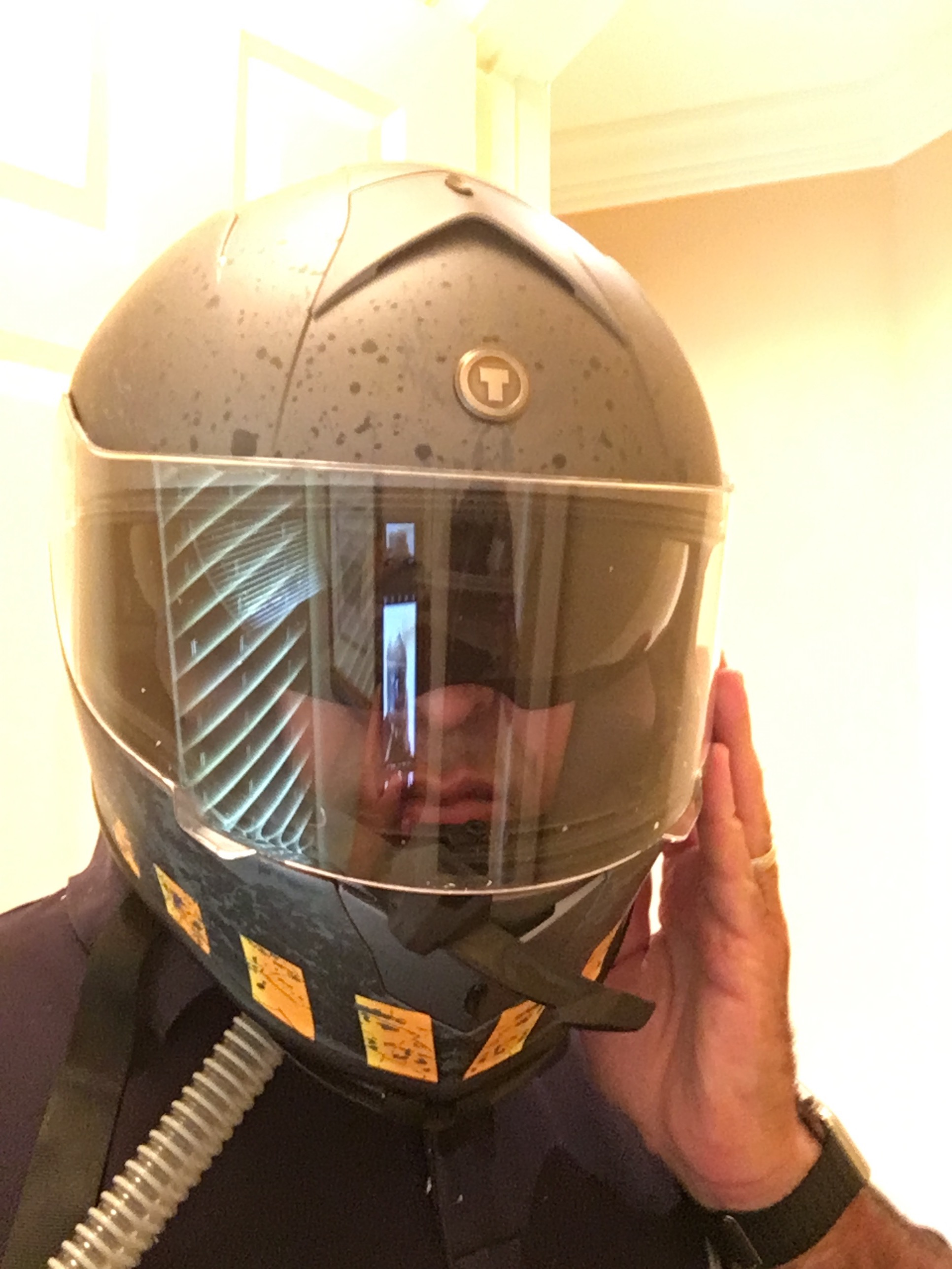 Me with my climate-controlled hostile environment helmet invention.