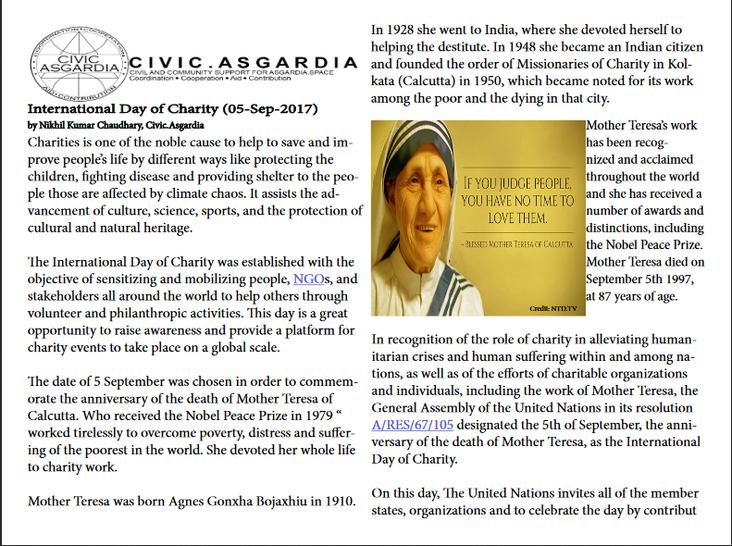 International Day of Charity (05-Sep-2017)