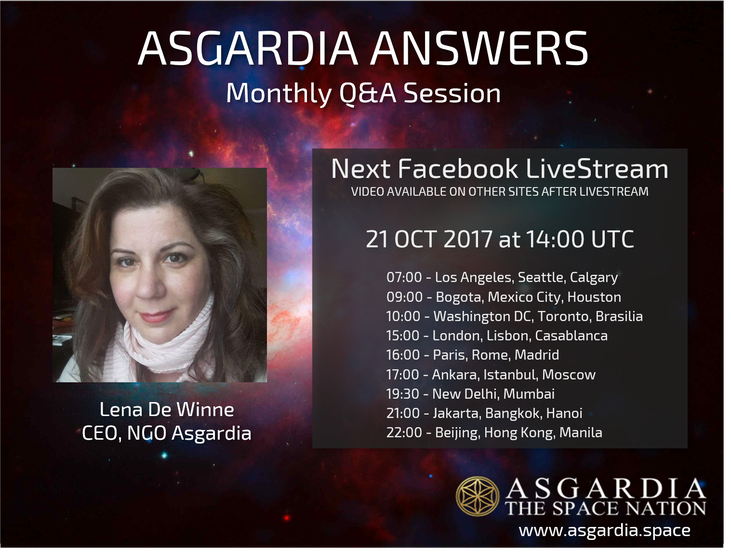 Next Asgardia Answers Live Stream - October 21, 2017