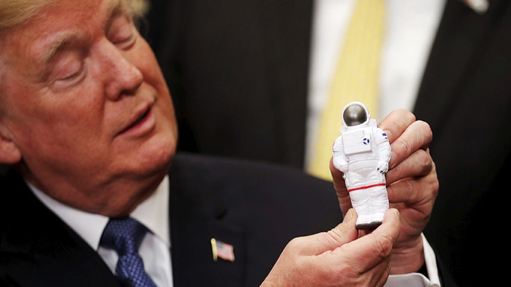 Trump announces that the US will send a manned mission to the Moon and Mars