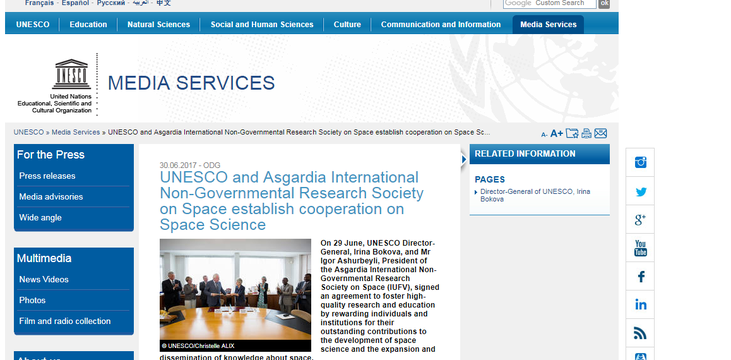 UNESCO and Asgardia International Non-Governmental Research Society on Space establish cooperation on Space Science