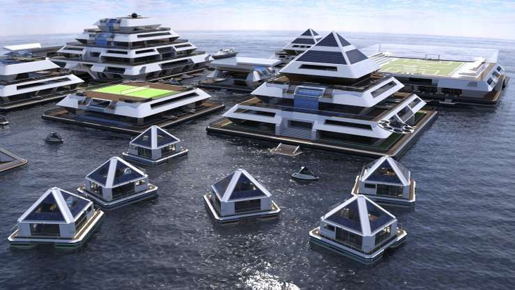 The floating city made of modular pyramids