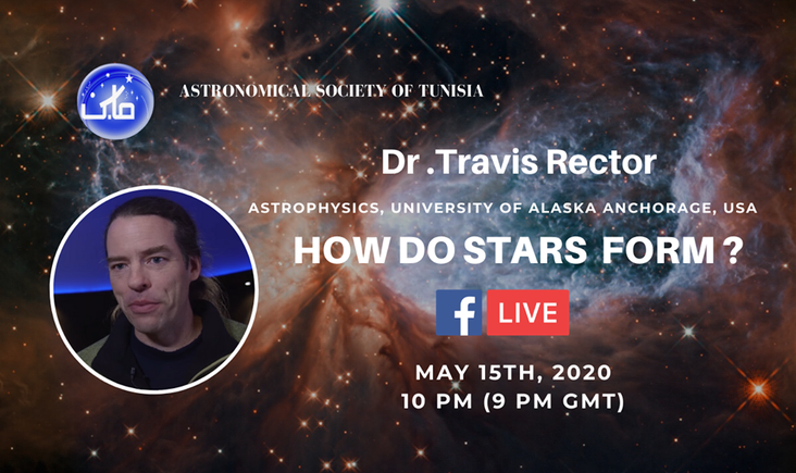 Free online lecture by Dr Travis Rector : How do stars form ? date: 15/05/2020