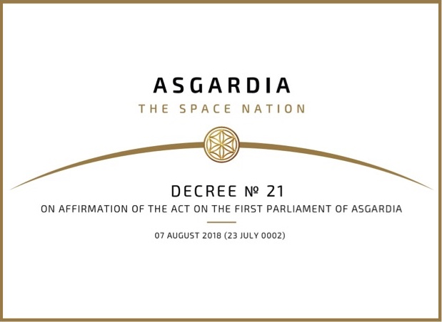 Decree No 21 On Affirmation of The Act on The First Parliament of Asgardia