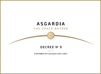 Decree No 9 <br>   Acceptance of the first Constitution of Asgardia